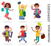 excited pupils girls and boys... | Shutterstock .eps vector #1039453051