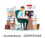man overwork in office ... | Shutterstock .eps vector #1039453264