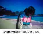 the image of the beach is... | Shutterstock . vector #1039458421
