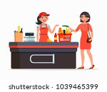 cashier and buyer at the... | Shutterstock .eps vector #1039465399