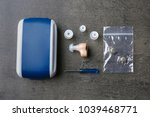 composition with hearing aid... | Shutterstock . vector #1039468771
