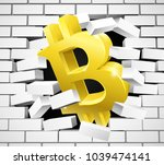 a gold bitcoin sign symbol icon ... | Shutterstock .eps vector #1039474141