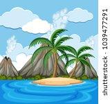 background scene with coconut... | Shutterstock .eps vector #1039477291
