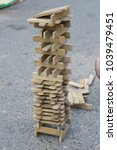 wood blocks stack game with...