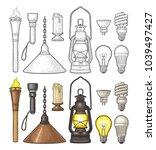 set lighting object. torch ... | Shutterstock .eps vector #1039497427