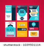 set of six black friday banners ... | Shutterstock .eps vector #1039501114