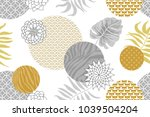 golden and silver floral... | Shutterstock .eps vector #1039504204