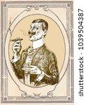 elegant gentleman holding glass ... | Shutterstock .eps vector #1039504387