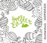 easter background with eggs and ... | Shutterstock .eps vector #1039505335