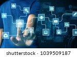 businessman press virtual screen   Shutterstock . vector #1039509187