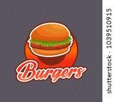 burger logo vector with badge...   Shutterstock .eps vector #1039510915