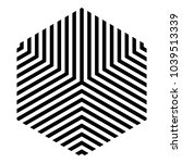 Striped hexagon in black and white, monochrome isometric cube | Shutterstock vector #1039513339