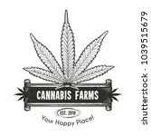 cannabis leaf with banner logo. ... | Shutterstock .eps vector #1039515679