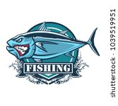tuna big fishing logo... | Shutterstock .eps vector #1039519951