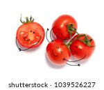 Bunch Of Fresh Tomatoes With...