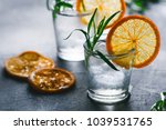two shots of cocktails with ice ... | Shutterstock . vector #1039531765