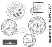 postmarks and tourist stamps.... | Shutterstock . vector #1039532107