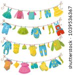 flat vector set of kids clothes ... | Shutterstock .eps vector #1039536367