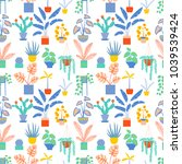 seamless pattern with cute... | Shutterstock .eps vector #1039539424