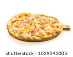 hawaiian pizza on wooden tray... | Shutterstock . vector #1039541005