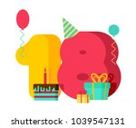 18 year birthday sign. 18th... | Shutterstock .eps vector #1039547131