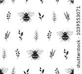 hand drawn seamless pattern... | Shutterstock .eps vector #1039553071