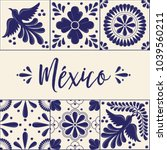 mexican traditional talavera... | Shutterstock .eps vector #1039560211