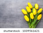 yellow spring flowers  tulip on ... | Shutterstock . vector #1039561621