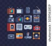 pixel art flat icons set. retro ... | Shutterstock .eps vector #1039561819
