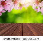 wooden table place and spring... | Shutterstock . vector #1039562875