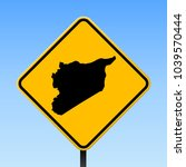 syria map road sign. square... | Shutterstock .eps vector #1039570444