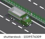 dump truck in the highway  | Shutterstock .eps vector #1039576309