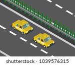 taxi cars in the highway  | Shutterstock .eps vector #1039576315