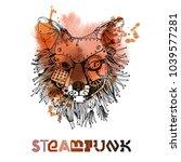 steampunk fox. watercolor... | Shutterstock .eps vector #1039577281