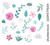 spring flowers and leaves  ... | Shutterstock .eps vector #1039579654