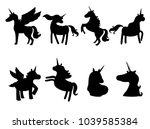 set of cute unicorns...   Shutterstock .eps vector #1039585384
