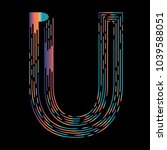 """u"" typographic icon on dark... | Shutterstock .eps vector #1039588051"