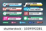 tv news bars set vector. sign... | Shutterstock .eps vector #1039592281