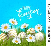 happy easter background with... | Shutterstock .eps vector #1039594741