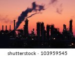 oil refinery factory silhouette ...