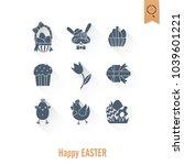 celebration easter icons.... | Shutterstock .eps vector #1039601221