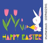 cute vector card with easter... | Shutterstock .eps vector #1039602541