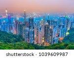 hong kong skyline. view from... | Shutterstock . vector #1039609987