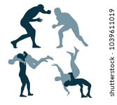 silhouette of fighters on a... | Shutterstock .eps vector #1039611019