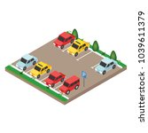 isometric cars in the car... | Shutterstock .eps vector #1039611379