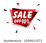 sale off 90   sign with red... | Shutterstock .eps vector #1039611571