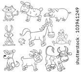 outlined cute cartoon farm... | Shutterstock .eps vector #103961249