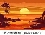 tropical beautiful sunset ... | Shutterstock .eps vector #1039613647