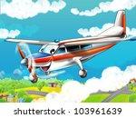 Little happy, cartoon plane - stock photo