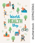 world health day. healthy... | Shutterstock .eps vector #1039623061